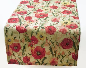 Poppies Table Runner, Floral Table Runner, Green and Red Floral Table Runner, Poppies Table Linens, Floral Table Runner & Matching Napkins