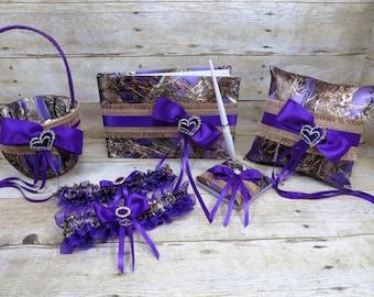 Purple Camo Wedding Set, Purple and Burlap Wedding Set, Burlap Wedding, True Timber Purple Mc2 Camo Wedding Set, Camo Wedding Set