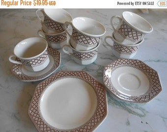 """SALE J & G Meakin Ironstone-Liberty Pattern also known as """"Wickerware.""""  Completer set to add to your collection-"""
