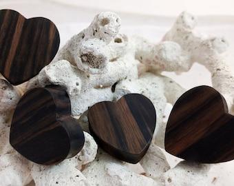 "Pair Dark Sono Wood Heart Plugs Earrings 10mm (00G) 12mm (1/2"") 14mm (9/16"") 16mm (5/8"") 18mm (11/16"") 25mm 1"" 28mm (1 1/16"") 32mm (1 1/4"")"
