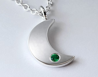 Emerald Moon Necklace Pendant in Sterling Silver - Sterling Silver Moon Necklace, Sterling Silver Moon Pendant, Moon Pendant. Sterling Moon