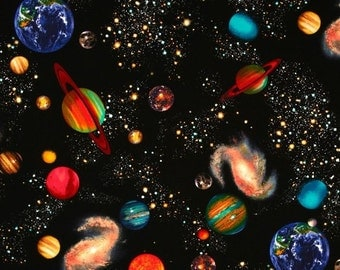 Solar system bedding etsy for Solar system fleece fabric