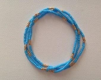 Seed Bead Bracelet, Beaded Bracelet, Simple Bracelet, Stretch Bracelet, Stacking Bracelet, Blue Bracelet, Turquoise Bracelet