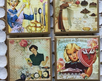 COASTERS!! Vintage cooking cards with gold trim