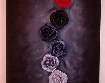 Painting-modern sculpture with hand made roses