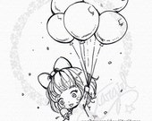 Balloons And Ice Cream - DIGITAL STAMP Instant Download