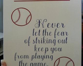 Fearless! Boys baseball canvas