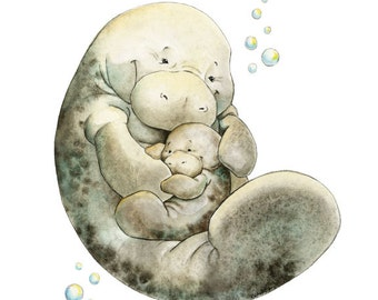 Manatee, Mom and baby Manatee, Nursery Art, Watercolor Nursery, Manatee Print, Manatee Themed, Baby Shower Gift, Nursery Wall Art, Baby