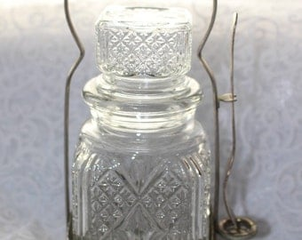 Vintage Crystal Glass and Silver Condiment Server with Serving Fork