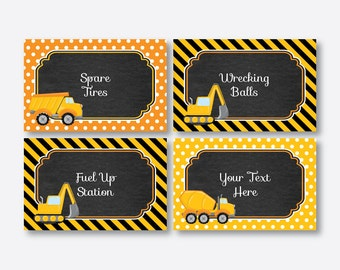 Instant Download, Editable Construction Food Labels, Food Tags, Food Tent, Buffet Card, Construction Party Printable , Dump Truck (CKB.200)