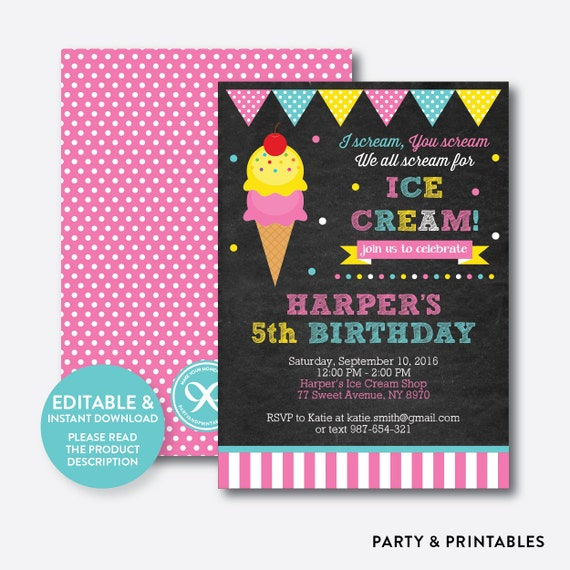 instant download editable ice cream birthday invitation ice cream