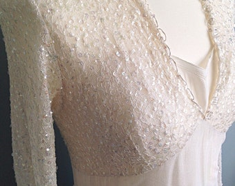 Beautiful Sparkly Sequinned Ivory Lace 1950s Wedding Dress Vintage Bride