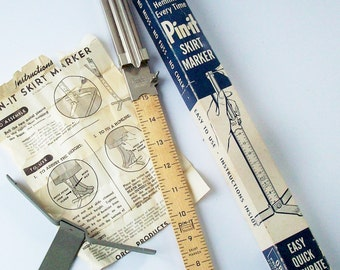 """Vintage """"Pin-it"""" Hem measuring device for skirt length / Original Box and Instructions"""