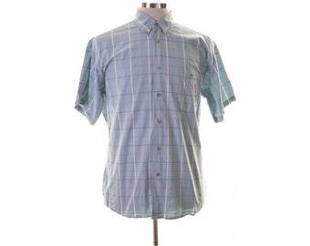 Lacoste Mens Shirt Size 41 Medium Blue Check Cotton