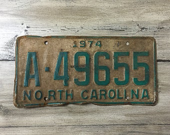 Vintage North Carolina License Plate 1974 | Brown Green Rusty | Man Cave Decor | Old Collectible | For Him | Garage