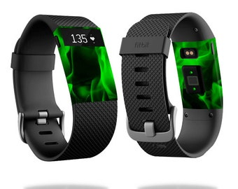Skin Decal Wrap for Fitbit Blaze, Charge, Charge HR, Surge Watch cover sticker Green Flames