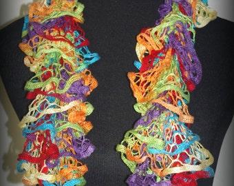 Kids rainbow ruffle scarf