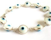 Evil Eye Bracelet Sterling Silver Amulet Protection Good Luck Mati Lampwork Glass Beads Chain Link Greek Jewelry Gift For All