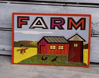 Farm Art, Nursery Decor, Farm Flash Card, Nursery Art, Kids Playing Cards, Barn Nursery Decor, Barn Art, Farm Art, Kids Farm Decor,Farm Card