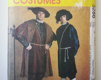 Tudor costume/ Mens/ reenactment clothing/ historical/ Henry VIII/ mens hat/ costume 2001 sewing pattern, Chest 46 48 50 52, McCalls 3286