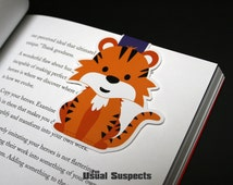 Big Tiger Magnetic Bookmark, Kawaii Orange Tiger Paper Clip for Planners or Cookbooks, Cute Tiger Page Markers for Books and Reading