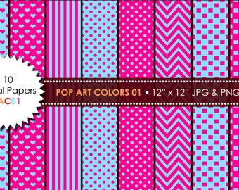 10 Digital Papers Stripes,Chevron,Polka Dots, Love, Square in Pop Art Colors,for Personal and Small Commercial Use - PAC01
