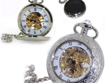 SALE Ornate Skeleton Pocket Watch Roman Numerals Can be personalised on back Mechanical hand wind Gift for him Wedding, Birthday Anniversary
