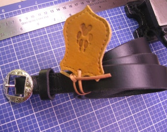 """Handmade Hand Stitched belt for Woman * English Bridle Leather Black Tan * 3/4"""" inches"""