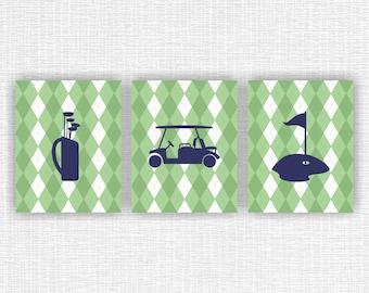 Golf Nursery Wall Art Prints Set Of 3, 8x10, Green And Navy, Nursery Part 50