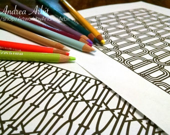 Pattern Coloring Pack #3 - 6 PDF Pages
