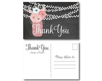 Rustic Thank You Postcard, Wedding Thank You Postcard, Thank You Card, Rustic Wedding, Mason Jar Thank You Postcard, Rustic Thank You #CL220