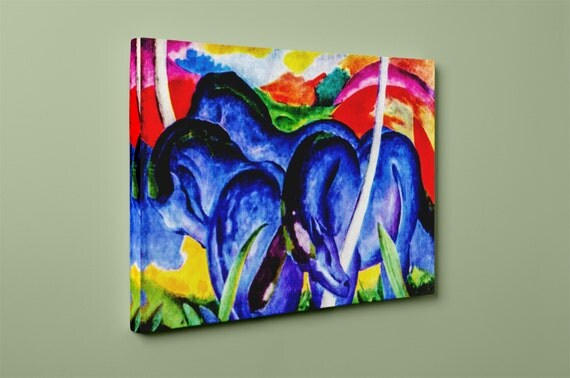 Large Blue Horses | Franz Marc Mirror Wrapped Canvas