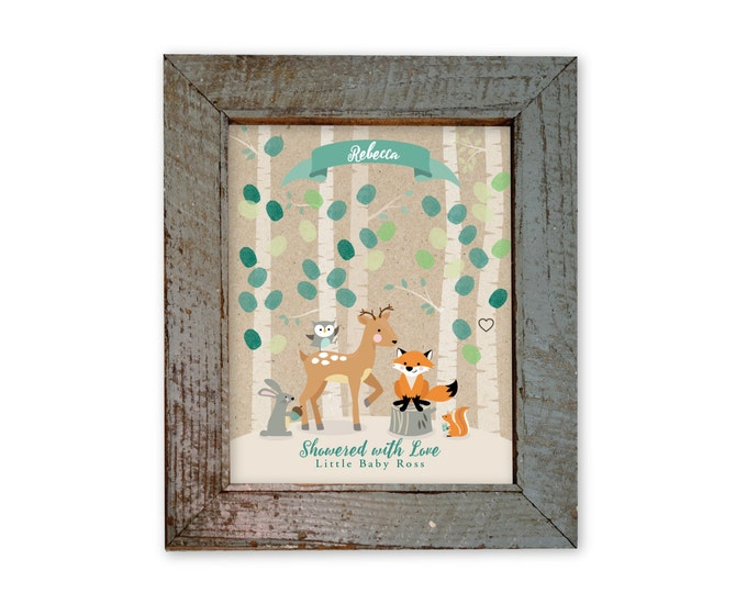 Thumbprint Tree Guestbook - Woodland Baby Shower / Mint Baby Shower Decor / Gender Neutral / Guestbook Wall Art / Fingerprint Tree