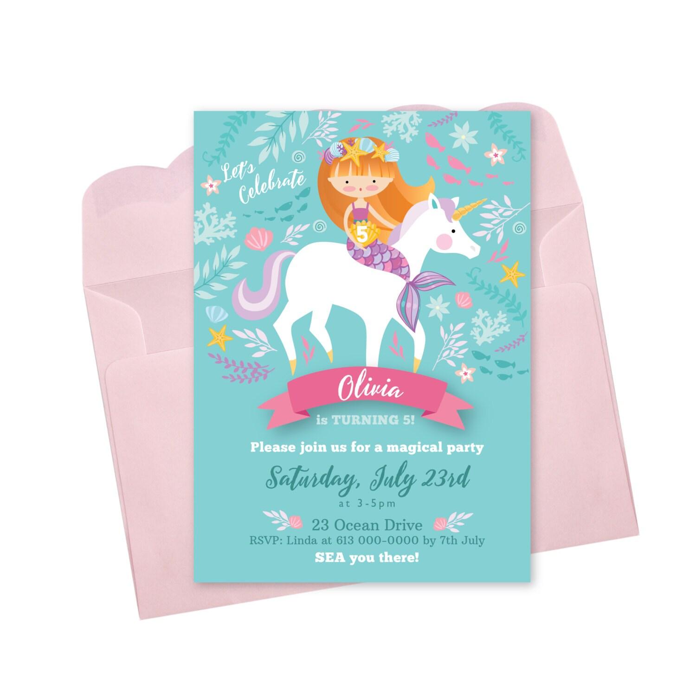 Mermaid Unicorn Invitation, Printable, Customized, DIY invitation ...