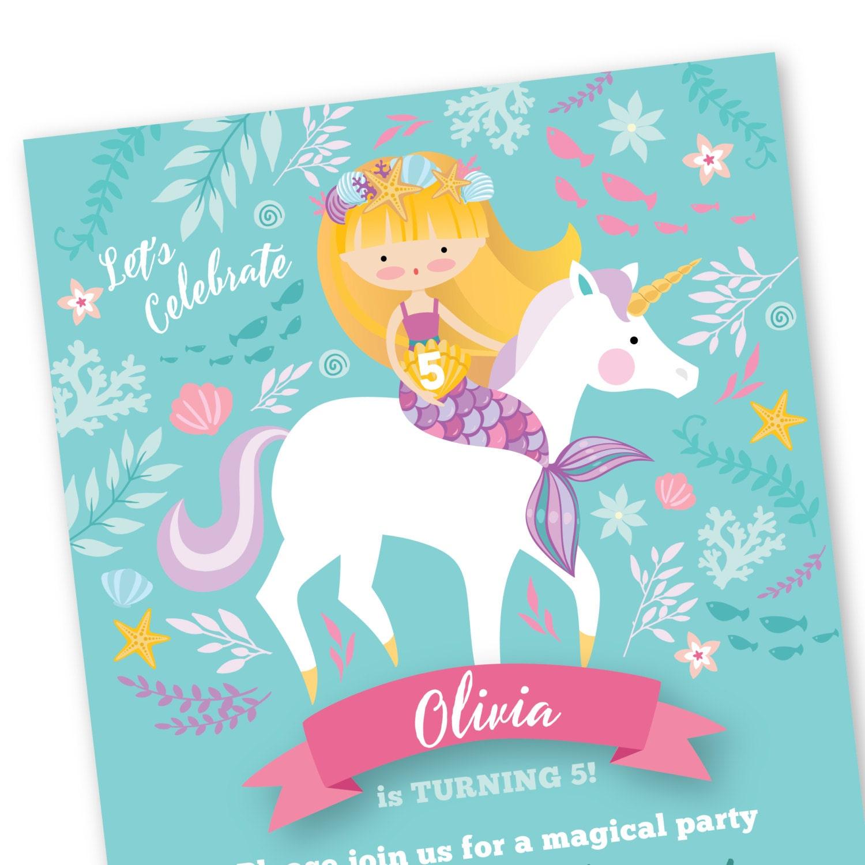 Mermaid Unicorn Invitation, Printable, Customized, DIY invitation, Girl's Unicorn / Mermaid ...