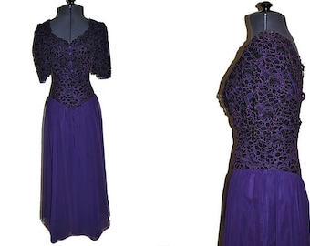 1980's Purple Dress // Lace Black and Purple Evening Dress
