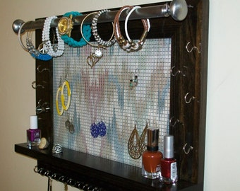 Large Size Jewelry Organizer-Wall Hanging Jewelry- Jewelry Display-Earring Display-Jewelry Organization-Necklace Holder-Jewelry Display