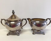 F.B. Rogers Silver Company SUGAR BOWL with Lid and CREAMER Vintage