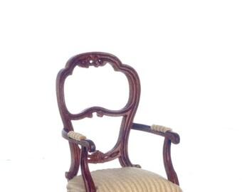 Dollhouse Miniatures Platinum Collection 1:12 Scale Walnut Le Petit Dejeuner Armchair #P6370