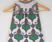 Girls racer back dress, organic clothing, baby girls, rabbit and heart dress, girls top, modern childrens clothing
