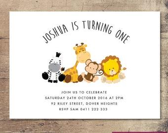 Printable Baby Animals Birthday Invitation / Customisable Digital File / JPG or PDF / Zebra, Giraffe, Monkey, Lion