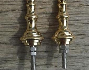 A pair of superb quality antique brass vase shape furniture clock finials Z8