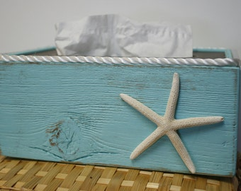 Tissue box cover holder rustic shabby chic beach by signshack - Beach themed tissue box cover ...