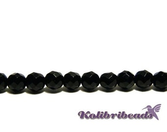 Round Faceted Onyx Real Gemstone Beads 4mm