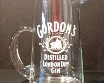 Vintage 60's Gordon's Distilled London Gin Clear Glass Pitcher or Decanter