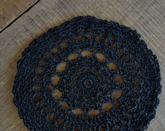 Black doily, black coaster, wedding favor, weird home decor, altar decor, Wicca, goth wedding, goth home decor, small doily, boho decor
