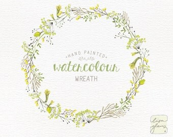 Watercolor wreath: hand painted floral wreath clipart / Wedding invitation clip art / Yellow and Lime / commercial use / CM0058a