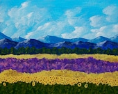 "Field of Lavender and Sunflowers (ORIGINAL ACRYLIC PAINTING) 8"" x 10"" by Mike Kraus"