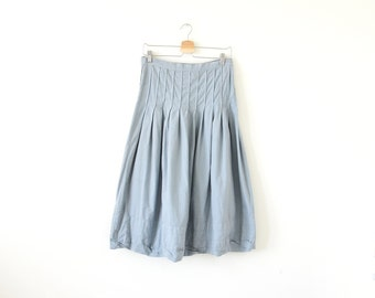 90s grey blue skirt / pleated skirt / cp shades skirt