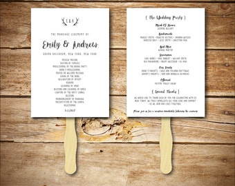 Wedding Program Template - Printable Wedding Program - DIY Wedding Fan Template - Instant Download - Antler Collection